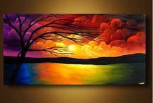 acrylic sunset with tree