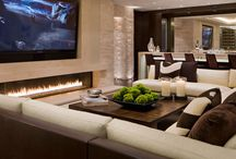 salas de tv con chimenea