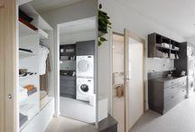 Kodinhoitohuoneet / Kannustalojen toiminnalliset kodinhoitohuoneet.