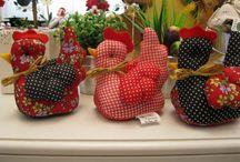 galinhas em tecido