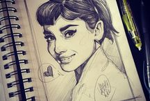 AUDREY HEPBURN ART. / Just Audrey. Done by pencils.