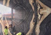 หินอ่อน Black forest  ต่อลาย bookmatch งานผนังโชว์ / หินอ่อน Black forest  ต่อลาย bookmatch งานผนังโชว์ www.thaistoneshop.com