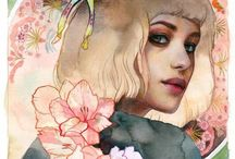 Lioba Brückner / Lioba Brückner (b. 1988) is a painter based in Oberhausen, Germany. She portrays young women in a surrealistic manner superimposed by plants or insects while submerged in dripping oil colour and translucent layers. Her subjects transport a melancholic and dreamful mood while often seem lost in thoughts.