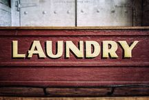 Rustic Laundry Room / Wall art prints, canvases & wood planked signs for the laundry.