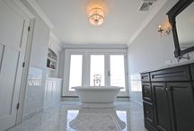 Master Bathroom Suite in Massapequa, NY / We completed this Master Bathroom Suite in the town of Massapequa, NY. This Master Bathroom suite includes beautiful marble work throughout, making this space very unique.