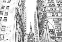Black and White Sketches / Sketches from New York,  Paris and other cities.  Black and white wall art on Etsy.