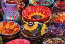 Mexican painted bowls, wraps, skulls etc..