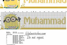 Cross stitch baby names with Despicable Me Minions / Cross stitch baby names with Despicable Me Minions