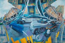 CHIN KONG YEE / Malaysian artist - painting the series 'Infinite Canvas', the artist wants to illustrate various city landscapes which wholly depicts the essence of Kuala Lumpur life and MALAYSIAN culture by mixing together both symbols of modernity and landmarks from the past