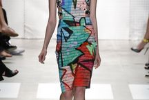 NYFW Recap: Graphics / Bold, colorful graphic prints and patterns were prevalent among the Spring 2016 Collections at NYFW. Nicole Miller, Mara Hoffman, Naeem Khan & Delpozo. NYFW Recap, h-a-l-e.com