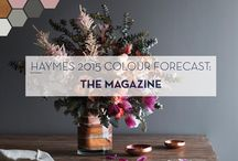 Haymes Forecast: THE MAGAZINE / Haymes 2015 Colour Forecast: The Magazine brings you unique inspiration in colour and design, featuring stylist Ruth Welsby, hunter/gatherer Simone Haag from Hecker Guthrie and Lucy Fenton of Fenton & Fenton.