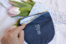 Textiles and prints ( Handmary_studio) /  #textiles #prints #fabric #cosmetic bag #purse #leather purse
