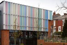 RIBA award winning school building in Lancashire / An innovative architectural façade featuring an array of coloured acrylic fins has been custom-made by Maple Sunscreening for a RIBA award winning school building in Lancashire.