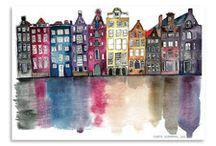 Watercolour buildings