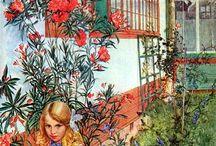 Carl Larsson and Karin Larsson Swedish Artists / Schwedisches Künstlerpaar und der berühmte schwedische Maler Carl Larsson. Bilder und Interieur Gründerzeit, Jugendstil, Impressionismus