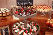 Mesa de chocolate e doces