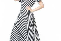 АГ_007Платье ассиметричное с карманами черно-белая полоска