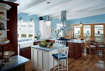 Wooden ceiling and blue kitchen / i dream about wooden ceiling in my kitchen and living room and about blue kitchen