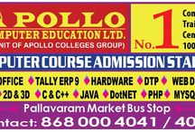 Apollo Computer Education / http://www.apollocomputereducation.com	APOLLO Computer Education is conveniently situated in Chennai. If you are deciding a best place for maximizing your knowledge, then you have come to the right spot. At APOLLO Computer Education, we understand the market needs better than anyone else and train the students with variety of ammunitions that would help them to be successful in their respective industry.