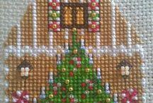 Hímzett 3 D/ karácsonyi házikó