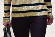 Black and gold striped button down