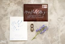 Leather luxe wedding calligraphy collection