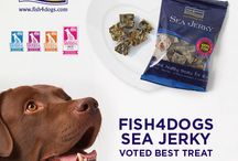 Fish4Dogs Dental / These dog's love Fish4Dogs Awarding winning Sea Jerky Dental Treats.  Made from 100% baked fish skins, dogs love the taste of these low calorie healthy treats!