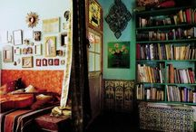 home and bohemian living / not modern, not spare, not clean lined. Multi culti, layered, patterned, collected, worldly, hippie, bohemian living / by Rowena Murillo