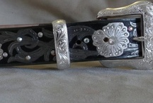 Belts / We custom hand paint our belts. Can be made in any colors you like. We use genuine glass crystals to add lots of bling! 