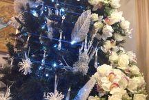 #alberonataletendenza2014 / Albero di Natale con fiori bianchi e cristalli
