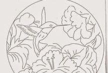 Risco de aves e animais-Pintura tecido.