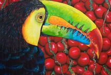 EXOTIC  BIRD SILK PAINTINGS : JEAN-BAPTISTE / This  is  a collection of  tropical birds painted on silk by master silk artist Jean-Baptiste of  Saint Lucia.