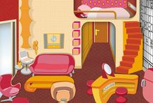 Cozy rooms and funky interiors (collage illustrations) / Background illustrations in a collage style that I created for my comic guinnievision.com