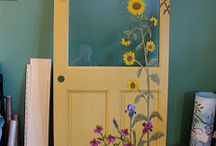 flower painted shed door