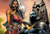 Comic art 32=King  T'Challa (Black Panter) and Queen Ororo Munroe (Strom)-Princess Shuri-Tigra-Klaw / kymera-Azari-Kraven-Psycho-man-Sentinels-Drones-Sabretooth