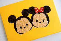 By Stephanie / Hand painted and hand sewn Disney inspired canvas string art / by Stephanie Duke