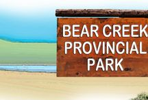 BEAR CREEK Provincial Park / Situated on the west side of Okanagan Lake and a mere 20 minute drive from Kelowna, BC, this family-oriented park features lakeside and creekside camping, over 400 metres of sandy beaches and 5 kms of spectacular, well-marked hiking trails.