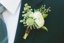 Boutonnieres prendidos y ramos novia