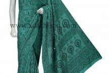 Tusser silk chikan sarees