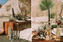 Beach Modern Boho Glam Styled shoot / Dark and moody palettes