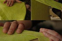 органайзер для полотенец из картонной коробки и ткани