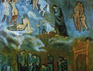 == EPOCA  AZUL == / En el año 1901, Picasso se embarcó en su época azul.  La muerte de su amigo dio lugar a la época azul. Los cuadros de esta época muestran la compasión de Picasso por las personas pobres y destituídas.  Otros pintores tambien vieron sus obras a partir  del azul y le usaron y pintaron obras  en las que pedomina el azul  en ellas / by Juana Martín