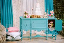 vintage english garden in blue and pink