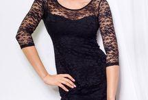 Krajkové šaty s podšívkou elastické černé / Krajkové šaty s podšívkou elastické černé