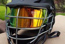 SHOC Inserts in Lacrosse Helmets / SHOC Sports Helmets Optical Conversion inserts installed in customer helmets