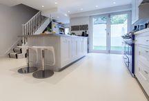 White Floors! / Be inspired by Sphere8's amazing range of poured resin floors - including spotless, minimalist, seamless white!