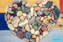 Pebble heart / Coloured