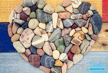 Pebble heart / Coloured