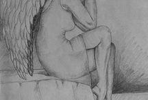 MOJE ANIOŁY / Moje rysunki aniołów wykonane ołówkiem i kredką