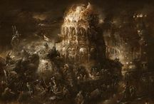 Yaroslav Gerzhedovich, The Damned City / Russian artist Yaroslav Gerzhedovich paintings are classically dark often monochrome and surreal creations. Featuring barren fields, ancient structures, and fantastical compositions Gerzhedovich's paintings transfix the viewer.